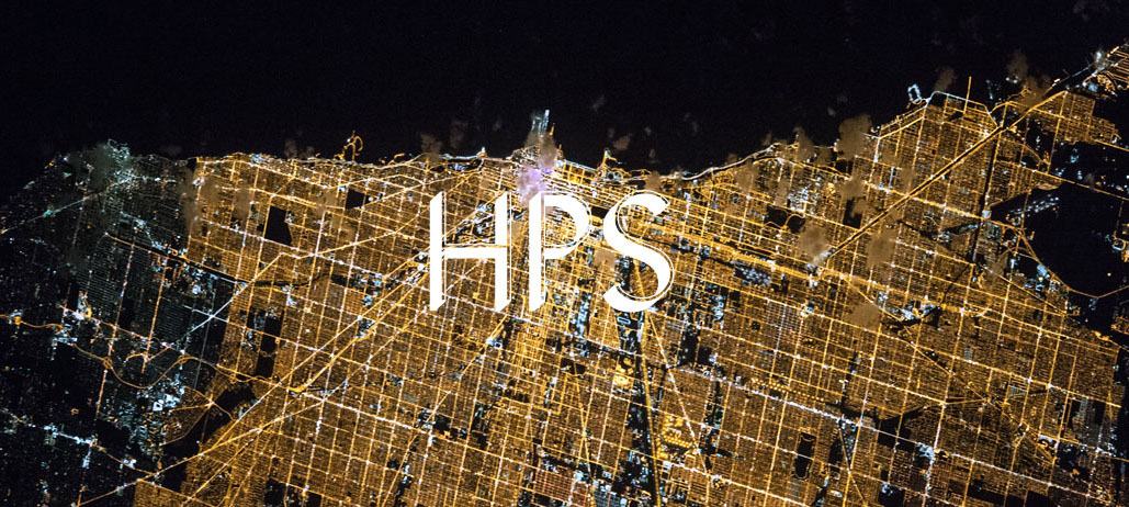 HPS logo superimposed on city space photograph